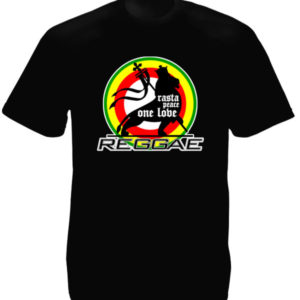 Rasta Peace One Love Reggae Black Tee-Shirt