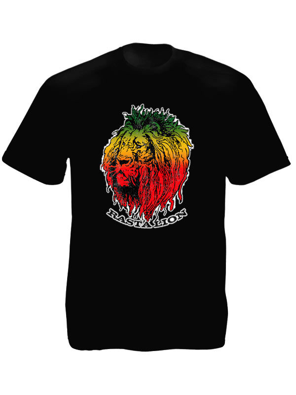 Green Yellow Red Rasta Lion Head Black Tee-Shirt