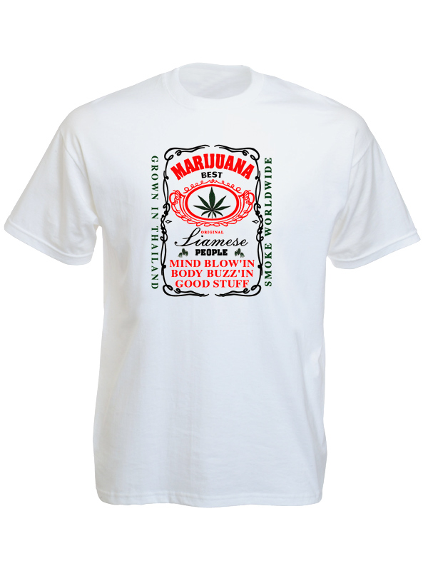Thailand best marijuana white tee shirt black white for Who makes the best white t shirts