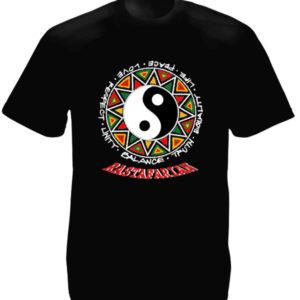 Yin & Yang Rastafarian Black Tee-Shirt