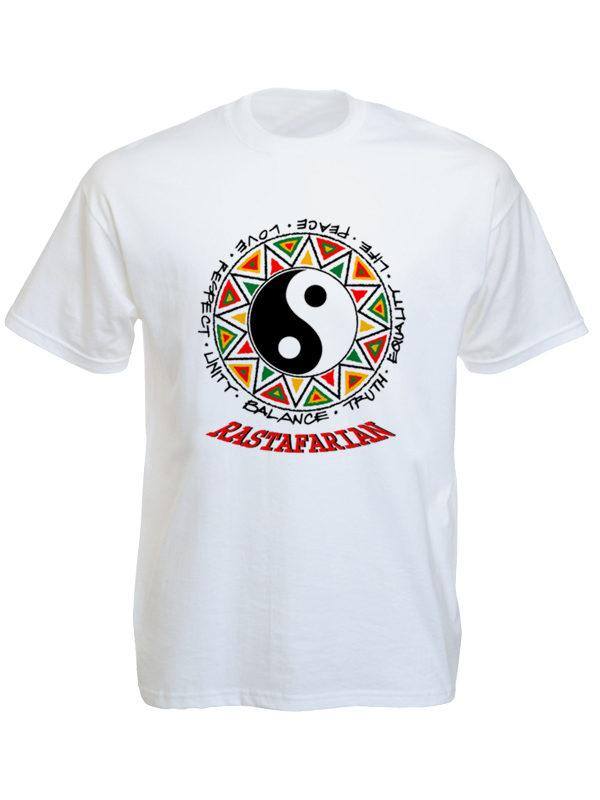Yin & Yang Rastafarian White Tee-Shirt